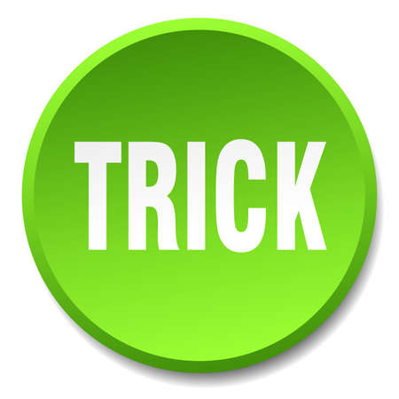 trick: trick green round flat isolated push button