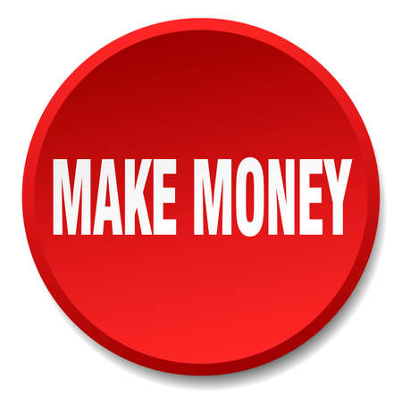make money: make money red round flat isolated push button Illustration