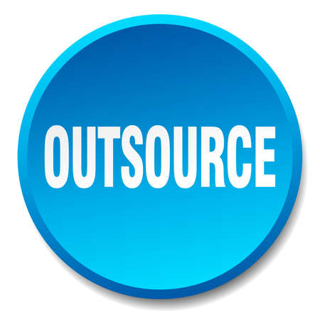 outsource: outsource blue round flat isolated push button