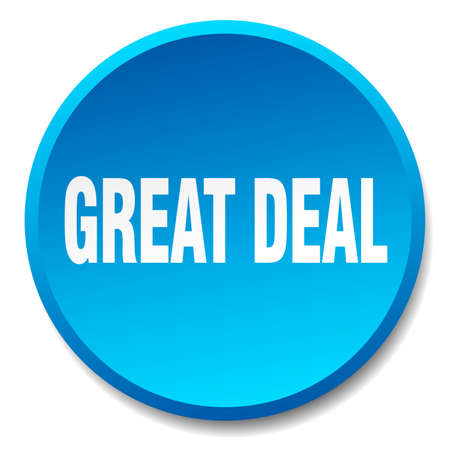 great deal: great deal blue round flat isolated push button