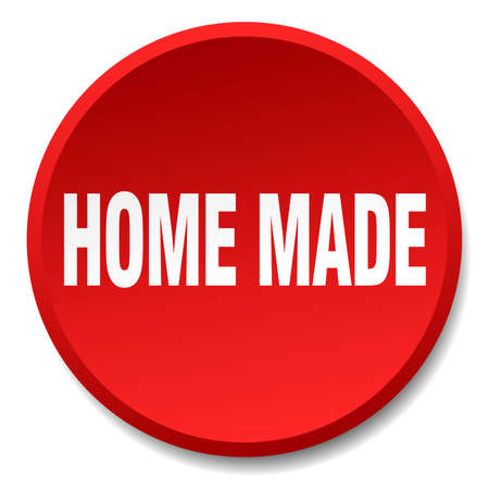 home made: home made red round flat isolated push button Illustration