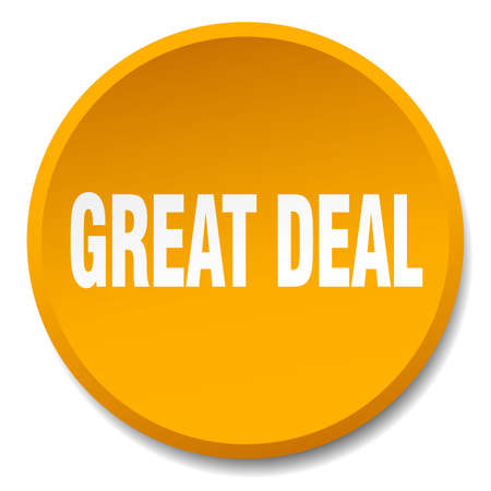 great deal: great deal orange round flat isolated push button