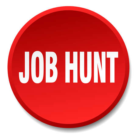 job hunt: job hunt red round flat isolated push button