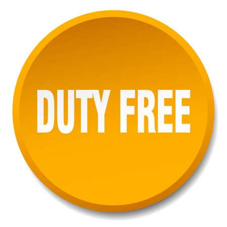 duty free: duty free orange round flat isolated push button Illustration