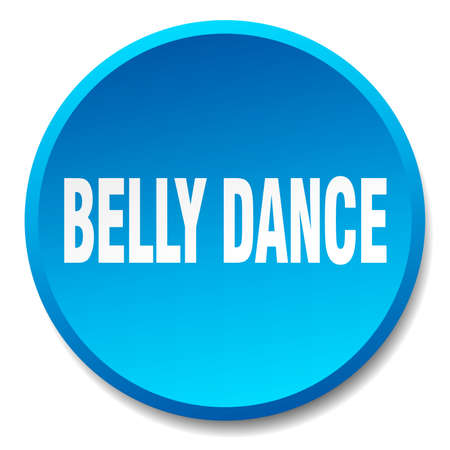 belly button: belly dance blue round flat isolated push button Illustration