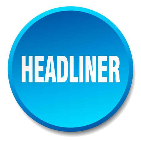 headliner: headliner blue round flat isolated push button