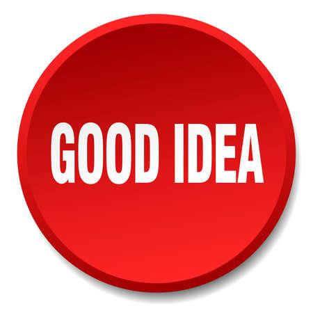 good idea: good idea red round flat isolated push button Illustration
