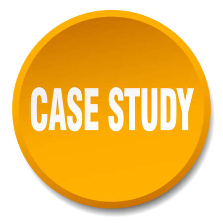 case study: case study orange round flat isolated push button