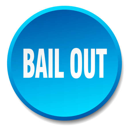 bail: bail out blue round flat isolated push button