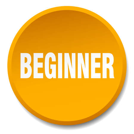 beginner: beginner orange round flat isolated push button