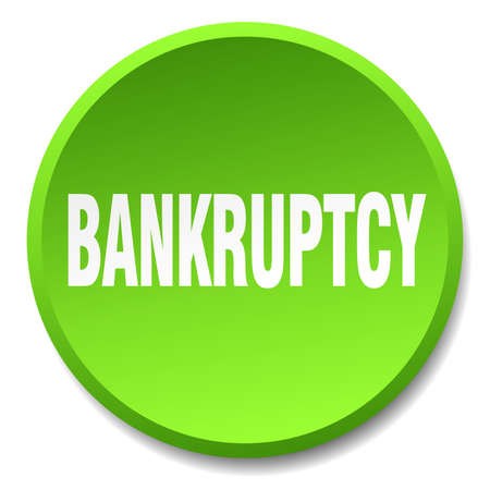 bankruptcy: bankruptcy green round flat isolated push button Illustration