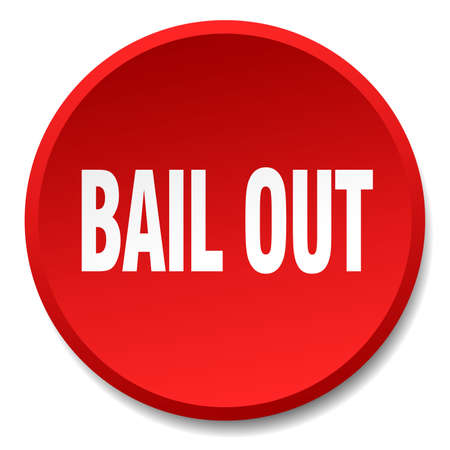 bail: bail out red round flat isolated push button