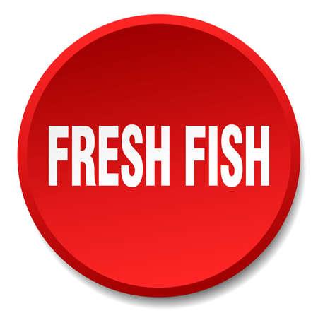 fresh fish: fresh fish red round flat isolated push button Illustration