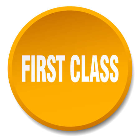 first class: first class orange round flat isolated push button Illustration
