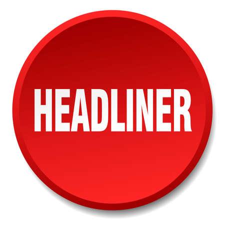 headliner: headliner red round flat isolated push button