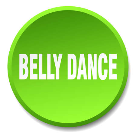 belly button: belly dance green round flat isolated push button