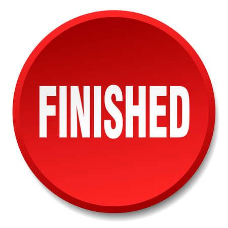 finished: finished red round flat isolated push button Illustration