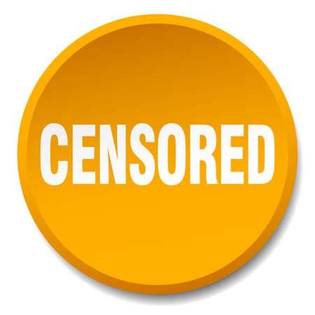 censored: censored orange round flat isolated push button
