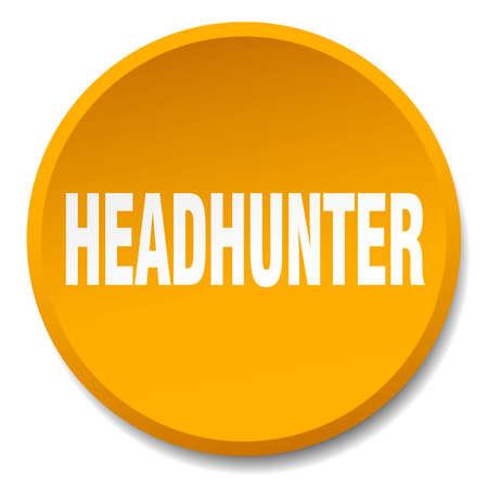 headhunter: headhunter orange round flat isolated push button Illustration