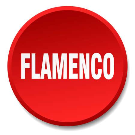 bailando flamenco: el flamenco rojo aislado botón redondo y plano de empuje Vectores