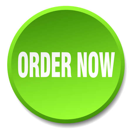 order now: order now green round flat isolated push button