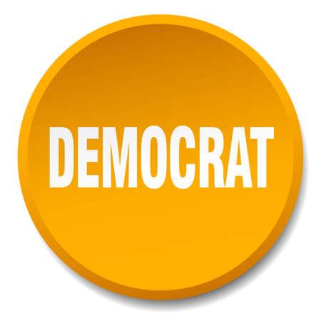 democrat: democrat orange round flat isolated push button