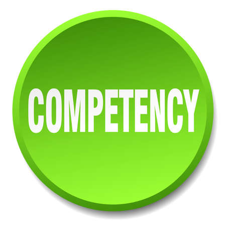 competent: competency green round flat isolated push button Illustration