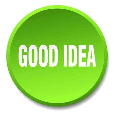 good idea: good idea green round flat isolated push button