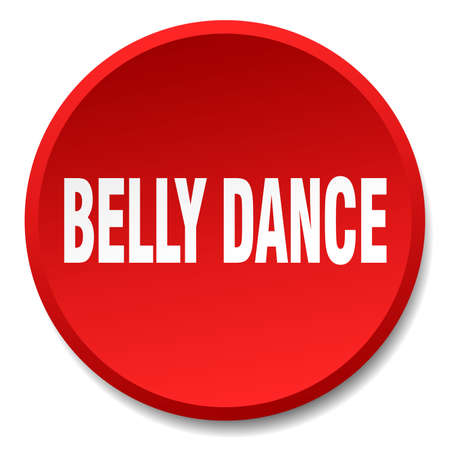 belly button: belly dance red round flat isolated push button Illustration