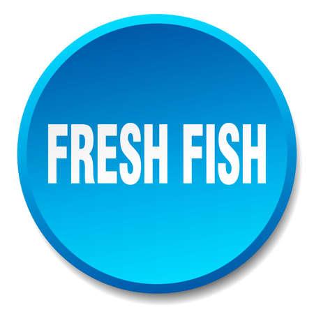 fresh fish: fresh fish blue round flat isolated push button Illustration