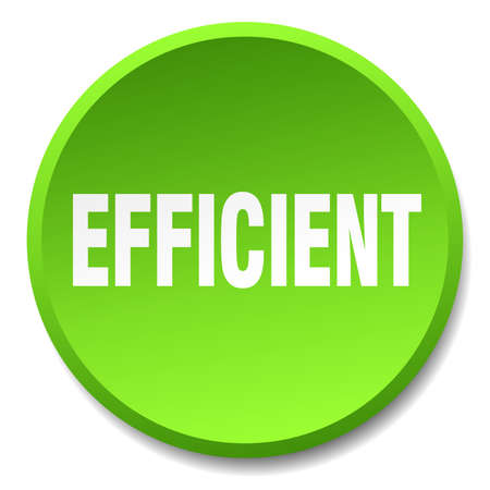 efficient: efficient green round flat isolated push button Illustration