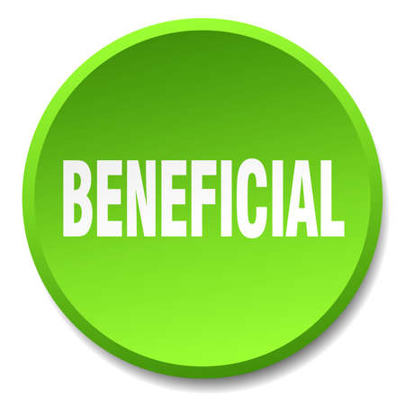 beneficial: beneficial green round flat isolated push button Illustration