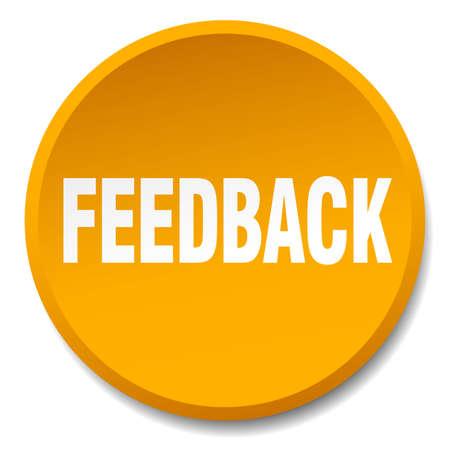 feedback sticker: feedback orange round flat isolated push button