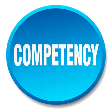 competent: competency blue round flat isolated push button