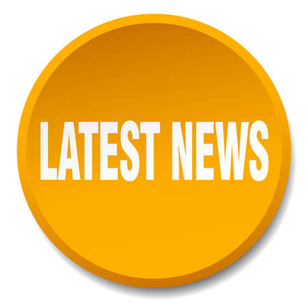 latest news: latest news orange round flat isolated push button