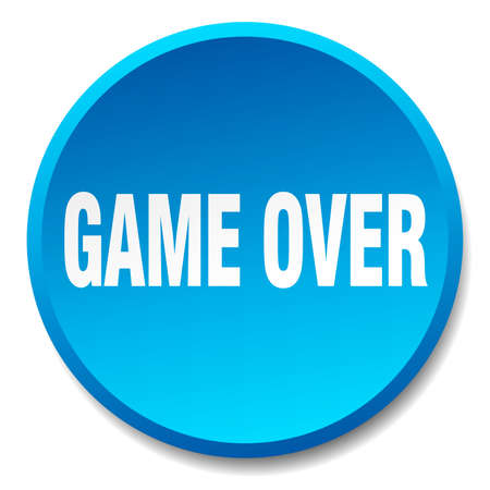 over: game over blue round flat isolated push button Illustration