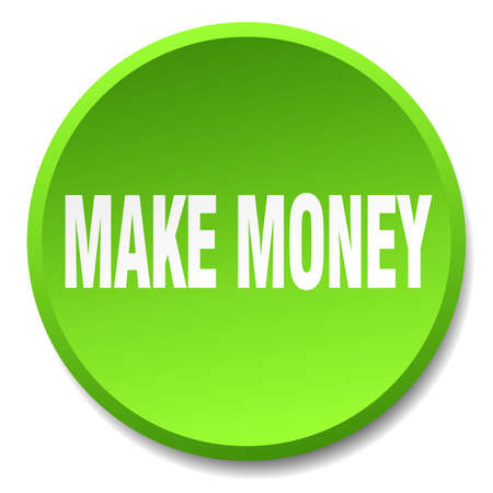 make money: make money green round flat isolated push button