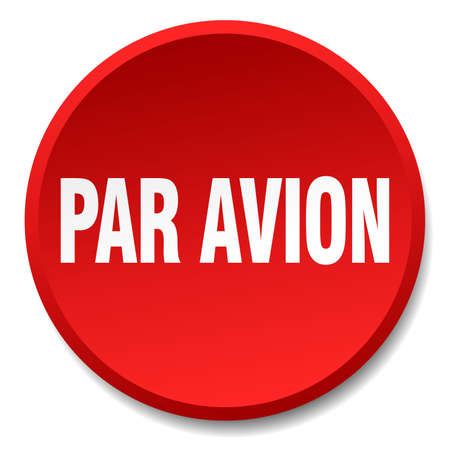 par: par avion red round flat isolated push button Illustration