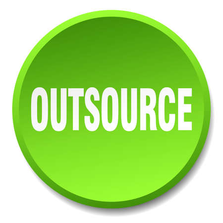 outsource: outsource green round flat isolated push button Illustration