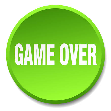 the game is over: game over green round flat isolated push button
