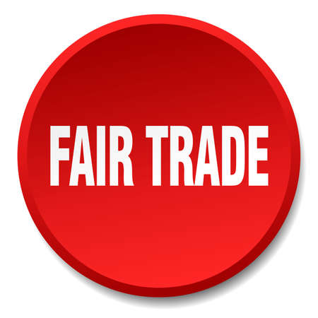 fair trade: fair trade red round flat isolated push button Illustration