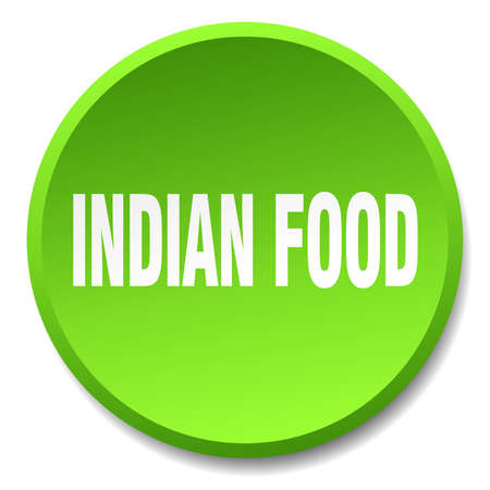 indian food: indian food green round flat isolated push button