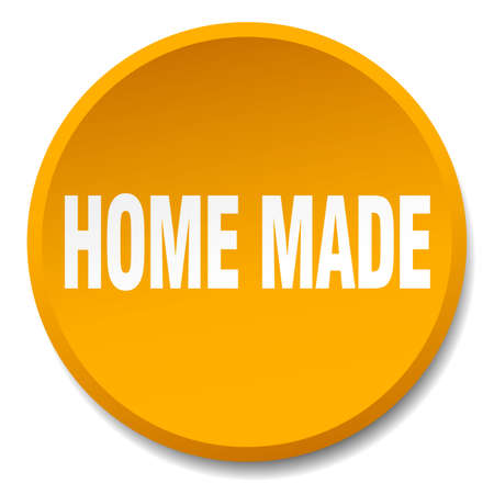 home made: home made orange round flat isolated push button Illustration