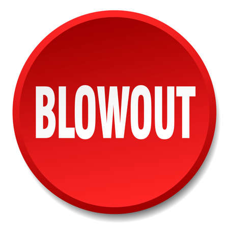 blowout: blowout red round flat isolated push button Illustration