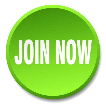 join now: join now green round flat isolated push button