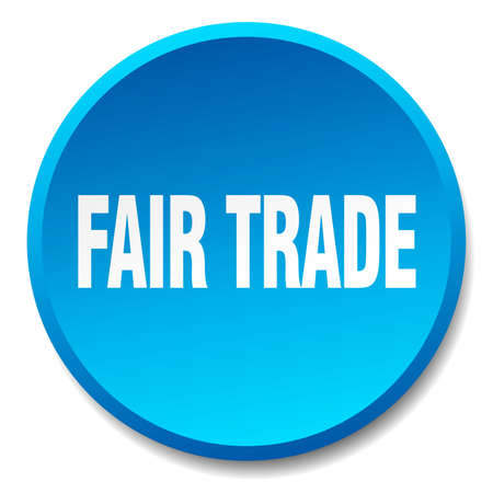 fair trade: fair trade blue round flat isolated push button