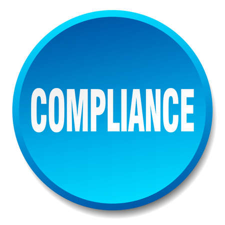 compliance: compliance blue round flat isolated push button