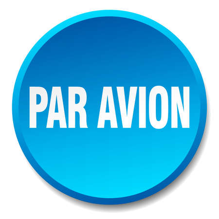 par avion blue round flat isolated push button Illustration