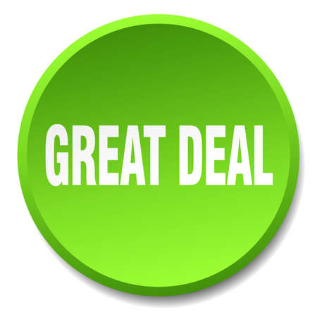 great deal: great deal green round flat isolated push button Illustration