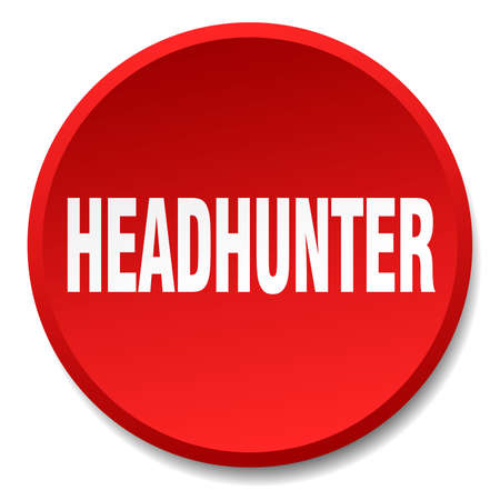 headhunter: headhunter red round flat isolated push button Illustration
